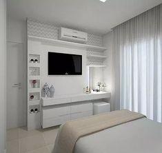 Bedroom Tv Wall, Bedroom Closet Design, Girl Bedroom Designs, Small Room Bedroom, Small Rooms, Home Decor Bedroom, Master Bedroom, Bedroom Ideas, Master Suite
