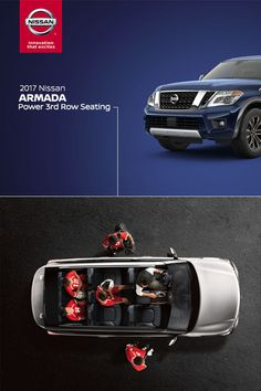 The Nissan Armada is the quick answer for a sudden change in plans.   With seating for up to eight adults with standard second-row bench seating and a highly flexible design, Armada is ready for whatever the day brings. The second-row bench splits 60/40, allowing the seats to tip up for easy entry to the third row. Combined with the available power third-row fold-down seats and power liftgate, the possibilities seem endless.