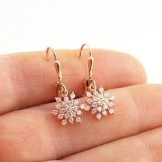 Petite Snowflake Earrings Rose Gold Crystal Drop by Blucha on Etsy