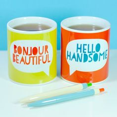 Say Hello Mug Set of two perfect for by wearebreadandjam on Etsy