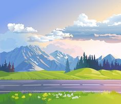 Buy Illustration of a Mountain Landscape by vectorpocket on GraphicRiver. Vector illustration of a mountain landscape with coniferous forest Cartoon Background, Animation Background, Background Pictures, Vector Background, Free Vector Art, Vector Graphics, Vector Vector, Casa Anime, Anime Places