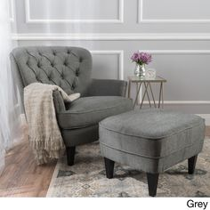 Tafton Tufted Fabric Club Chair with Ottoman by Christopher Knight Home (Grey) (Polyester Blend)