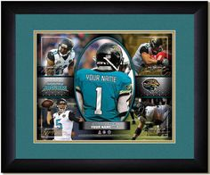 Jackson Jaguars collage of football players in action shots personalized with your name on the jersey among stars of the Jaguar team.