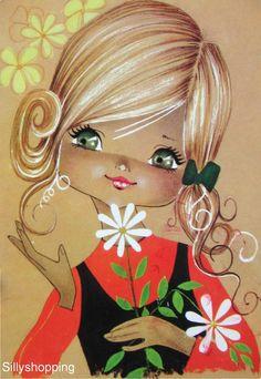 Vintage postcard of a Big Eyed Girl who has been Picking Flowers. Vintage Pictures, Vintage Images, Pretty Pictures, Vintage Cards, Vintage Postcards, Vintage Illustration, Sarah Kay, Eye Art, Vintage Comics