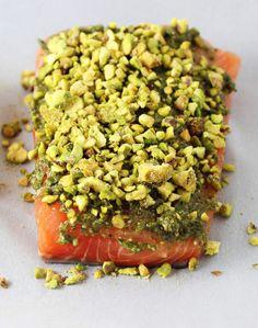 Artichoke Pistachio Crusted Salmon