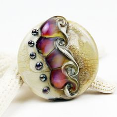 Lampwork Glass Bead Lentil Focal by StoneDesignsbySheila on Etsy, $35.00