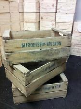2 X FRENCH WOODEN FARM SOLID APPLE / FRUIT CRATE BUSHELL BOX VINTAGE ANTIQUE