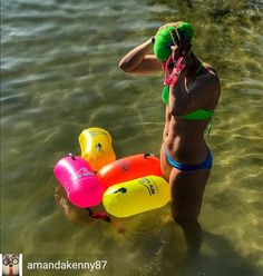 from @amandakenny87 . . Ready for an early morning open water swim at the lake!  So many beautiful bubble buoys so little time Thanks @newwaveswimbuoy for the awesome gear keeping me bright and buoyant! #bebrightbeseen #newwaveswimbuoy