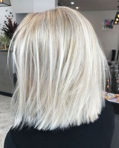 Ice platinum blonde balayage blunt cut bob