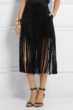 Valentinofringed suede mini skirt