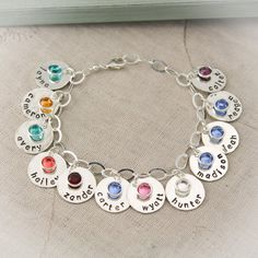 Personalized Mother Charm Bracelet with Birthstones Mommy Jewelry Grandma Charm Bracelet Mothers Day Gift Gifts for Her Hand Stamped by TracyTayanDesigns Metal Jewelry, Custom Jewelry, Silver Jewelry, Handmade Jewelry, Silver Ring, Jewelry Art, Bullet Jewelry, Silver Earrings, Jewelry Ideas