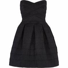 Black rib box pleat prom dress #riverisland #party #christmasparty