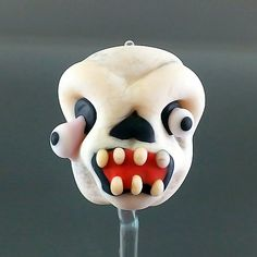 PIKALDA=handmade lampwork 1 single glass bead skull=HALLOWEEN=SRA