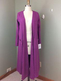 LuLaRo Sarah Cardigan Sweater Knit Long Sleeve Fuschia Pink S NWT Pockets