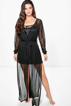 #FashionVault #Boohoo #Women #Lingeries - Check this : boohoo Emily Maxi Length Sheer Robe - black for $ USD