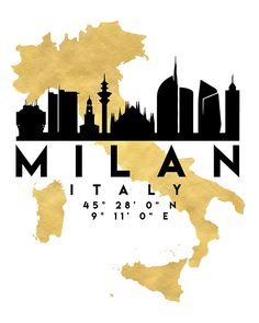 MILAN ITALY SILHOUETTE SKYLINE MAP ART -  The beautiful silhouette skyline of Milan and the great map of Italy in gold, with the exact coordinates of Milan make up this amazing art piece. A great gift for anybody that has love for this city.  milan italy downtown silhouette skyline map coordinates souvenir gold deificus art