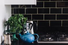 Charlotte Rey & Duncan Campbell — Creative Directors, Apartment & Workplace, Camden, London. Kitchen Butlers Pantry, Butler Pantry, Decoration, Art Decor, Black Subway Tiles, Turbulence Deco, Interior Design Inspiration, Kitchen Inspiration, Retro Chic