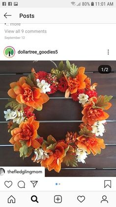 Thanksgiving Door Decorations, Floral Wreath, Wreaths, Fall, Home Decor, Autumn, Floral Crown, Decoration Home, Door Wreaths