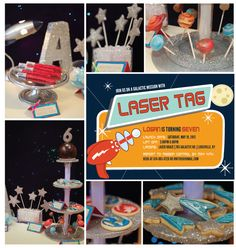 Laser Tag Birthday Party...cake pops, galactic cookies, Meteorite rock candy. Nic's 8th