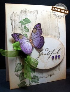 "Purple Butterfly on a ""grateful"" card"