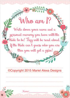 Bridal Shower Game Who Am I Memory Game Pink Floral Garden Party Shabby Chic Theme Fun by TheBrandedBangle