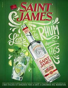 Publicité Rhum Saint-James Rhum Saint James, Vintage Ads, Vintage Images, Sorbet Coco, Destination Soleil, Poster Ads, Ron, Etiquette, Vodka Bottle