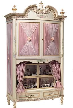 Embellished dollhouse in a cabinet: artist?  I'd have died if I had this as a little girl... || dollhouse, miniature, repurpose