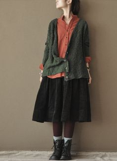 Green  open wool sweater Long  Sweatertwo colours by clothingshow, $65.66