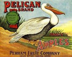 Yakima, Washington Pelican Apple Crate Label