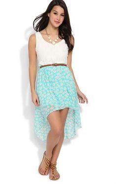 Deb Shops #daisy lace tank strap bodice belt daisy print chiffon high low $35.00