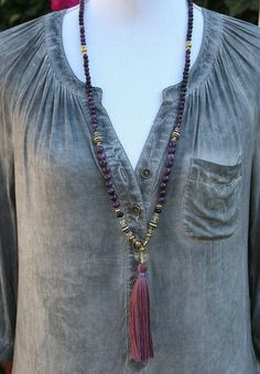 Beautiful lepidolite gemstone mala necklace by look4treasures
