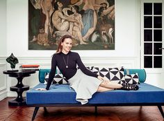 Go inside Hilary Swank's Paris apartment with Haussmann-style architecture and furniture by French company Henryot & Cie.