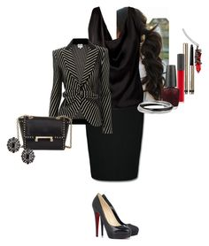 """Raelene ""Rae"" Larson"" by katlayden ❤ liked on Polyvore featuring Hell Bunny, By Terry, Armani Collezioni, Diane Von Furstenberg, Bite, OPI and Christian Louboutin"