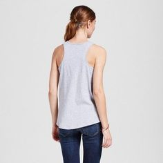 Women's San Francisco Geo Peace Tank Top S - Heather Gray (Juniors')