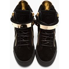 07ed5360345443 GIUSEPPE ZANOTTI Black Suede Gold-Trimmed August Sneakers ($695) ❤ liked on  Polyvore