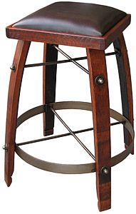 Rustic Oak Chocolate Leather Stave Stool Noir Stain X Lorajean Ziesel Wine Barrel Ideas
