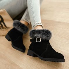 Fashion Womens Winter Warm Rabbit Hair Boots Buckle Low Heel Shoes Plus Sz C34