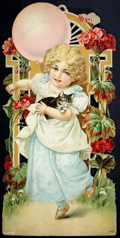 """Embossed, Chromolithographed  Victorian Die Cut: """"Young Girl Carrying Cat  While Holding A Pink Balloon!"""", circa 1880's"""