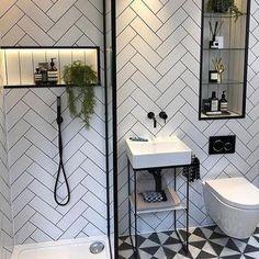 Bathroom Crafts, Loft Bathroom, White Bathroom Tiles, Black And White Bathroom Ideas, Black White Bathrooms, Family Bathroom, Downstairs Bathroom, Bathroom Inspo, Bathroom Tile Showers