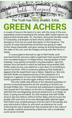 The Ankh-Morpork Times. The Truth has forty shades. Extra. GREEN ACHERS. page one. by David Green 19 March 2016