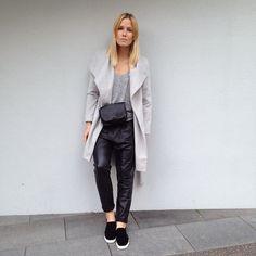 tifmys - Mango coat and leather baggys, Zara bag & H&M slip-ons.