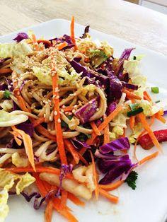 nutritarian recipe box: Asian Crunch Salad with Spicy Peanut Dressing