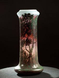 Daum vitrification, souffle-moule impressionism vase 1905