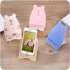 Super cute Bunny Desk mounts Wood Stand Holder For i Phone cell phone tablets Desk Phone Holder, Phone Charger Holder, Iphone Holder, Cell Phone Stand, Buy Cell Phones, Graffiti Cartoons, Wood Toys, Cute Bunny, Kids