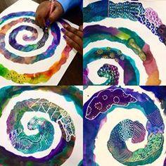 Watercolours with gel pen overtop