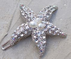 Rhinestone and Freshwater Pearl Starfish Hair by HairComestheBride, $24.00