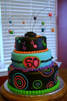 Neon 50th birthday cake
