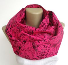 comic print scarf unisex infinity scarf in pink comic book scarf cotton spring summer circle scarf Eternity scarf senoAccessory on Etsy, $19.90