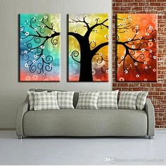 Flower tree painting, tree of life art, tree paintings, buy abstract painting, extra large wall art, canvas painting for sale. 100% hand painted art. Affordable acrylic art for sale. Canvas Painting for bedroom