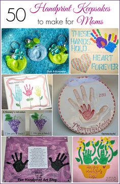 Fun Handprint and Footprint Art : 50 Handprint Keepsakes to Make Mom for Mother's Day #gifts